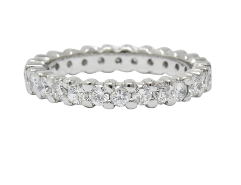 Retro 1.30 CTW Diamond Platinum Eternity Band or Stackable Ring Ring