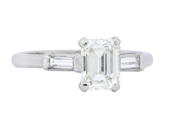 Retro 1.45 CTW Emerald Cut Diamond Platinum Lovebright Engagement Ring GIA - Wilson's Estate Jewelry