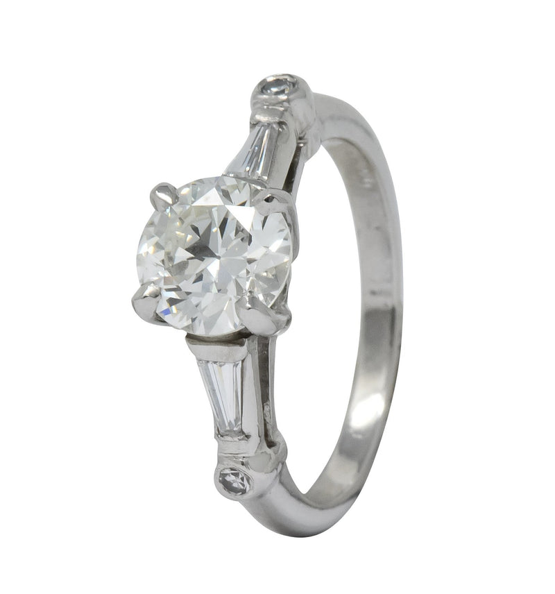 Retro 1.47 CTW Diamond Platinum Engagement Ring GIA Ring