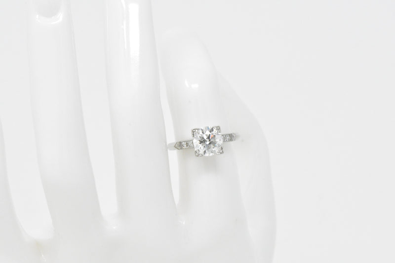 Retro 1.54 CTW Diamond Platinum Engagement Ring GIA Circa 1940 - Wilson's Estate Jewelry