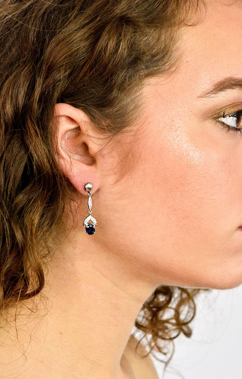Retro 1.80 CTW No Heat Sapphire Diamond 14 Karat White Gold Drop Earrings GIA Earrings