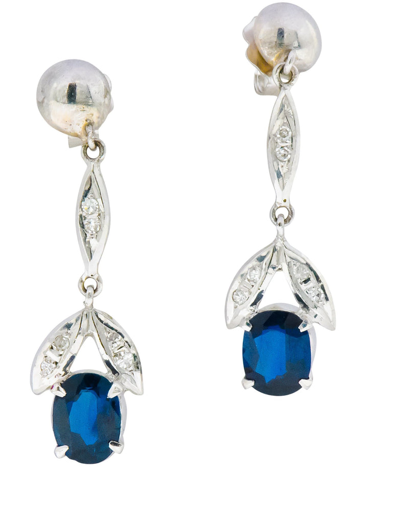 Retro 1.80 CTW No Heat Sapphire Diamond 14 Karat White Gold Drop Earrings GIA - Wilson's Estate Jewelry
