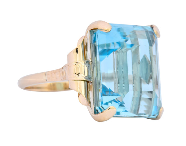 Retro 17.86 CTW Aquamarine 14 Karat Gold Cocktail Ring Ring aquamarine out-of-stock Retro