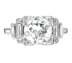 Retro 1940's 3.29 CTW Old European Diamond Platinum Engagement Ring GIA - Wilson's Estate Jewelry