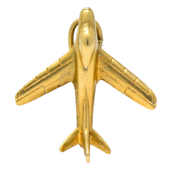 Retro 1950s 14 Karat Gold U.S. Air Force Fighter Plane Airplane Charm charm