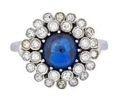 1950's Mid-Century 2.66 CTW No Heat Sapphire Diamond 18 Karat Gold Cluster Ring AGL - Wilson's Estate Jewelry