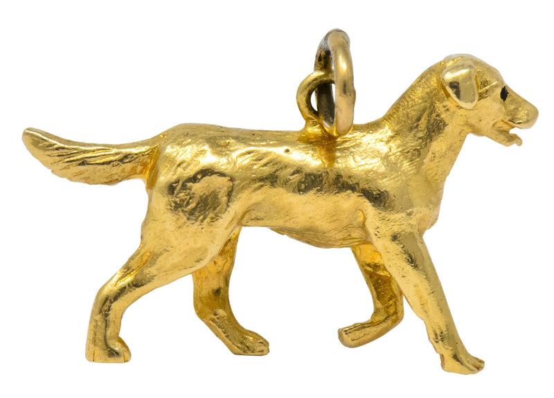 Retro 1950's Enamel 14 Karat Gold Realistic Dog Charm - Wilson's Estate Jewelry