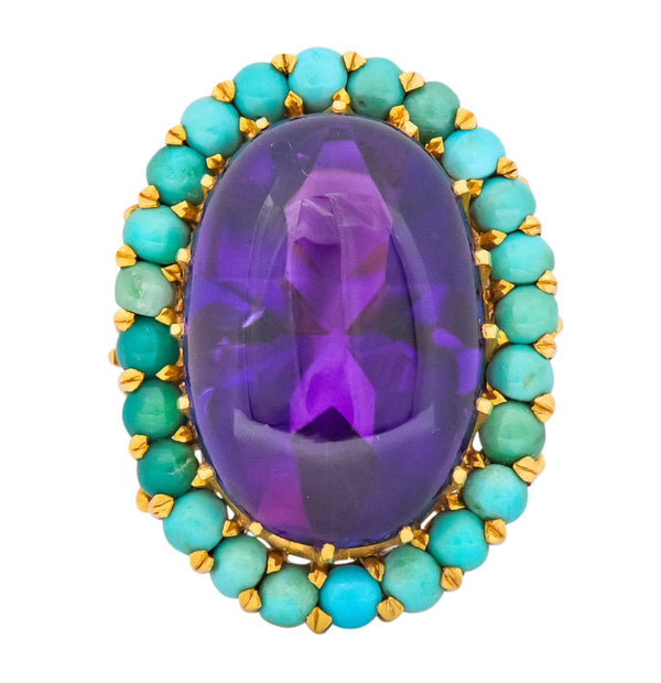 Retro 1960s Amethyst Turquoise 18 Karat Gold Cluster Cocktail Ring Ring