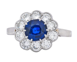 Retro 2.09 CTW No Heat Sapphire Diamond 14 Karat White Gold Cluster Ring GIA - Wilson's Estate Jewelry