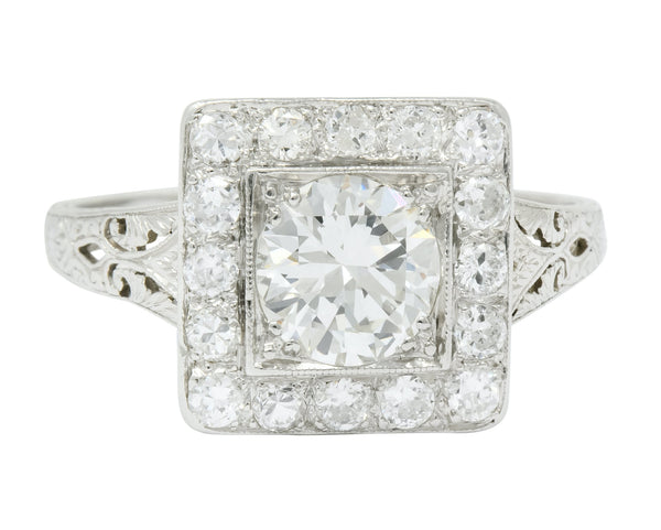 Retro 2.14 CTW Diamond Platinum Cluster Alternative Engagement Ring Ring
