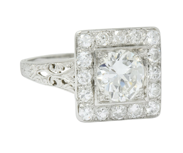 Retro 2.14 CTW Diamond Platinum Square Halo Engagement Ring Circa 1940 - Wilson's Estate Jewelry