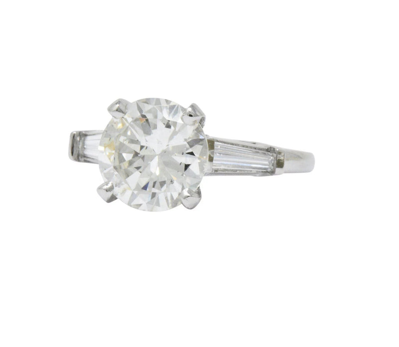 Retro 2.71 CTW Diamond Platinum Engagement Ring GIA Ring out-of-stock