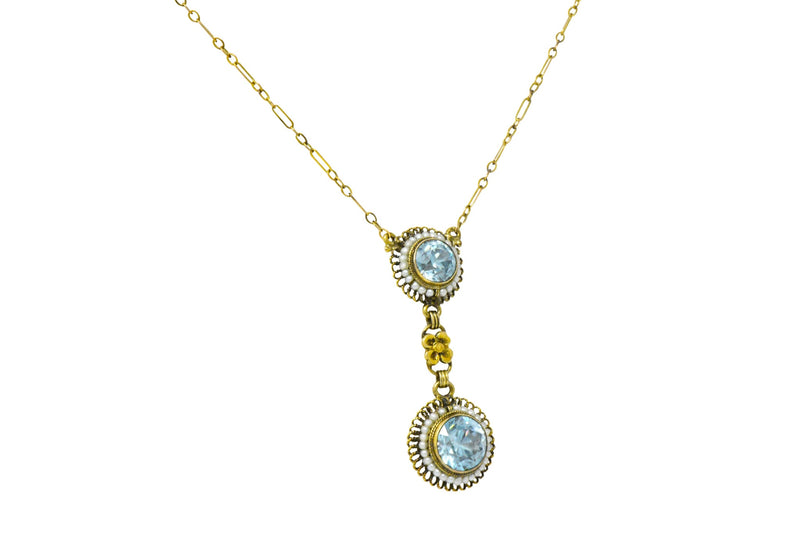 Retro 4.75 CTW Blue Zircon Seed Pearl 14 Karat Gold Drop Necklace - Wilson's Estate Jewelry