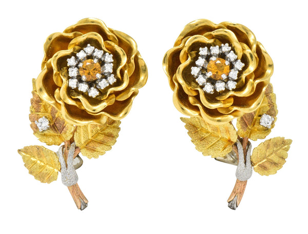 Retro Citrine Diamond Platinum 14 Karat Tri-Colored Gold Flower Ear-Clip Earrings Circa 1940 Earrings