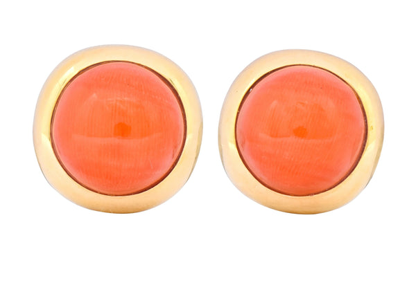 Retro Coral Cabochon 14 Karat Yellow Gold Circular Earrings - Wilson's Estate Jewelry