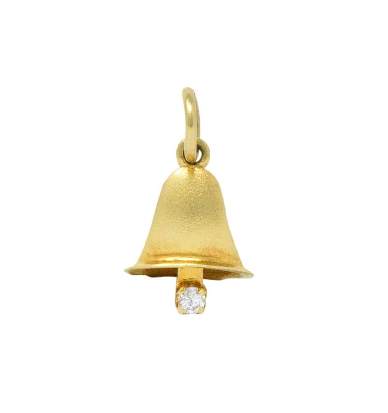 Retro Diamond 14 Karat Gold Articulated Bell Charm - Wilson's Estate Jewelry