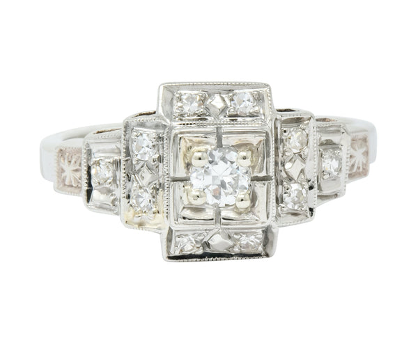 Retro Diamond 14 Karat White Gold Engagement Ring Circa 1940s Ring