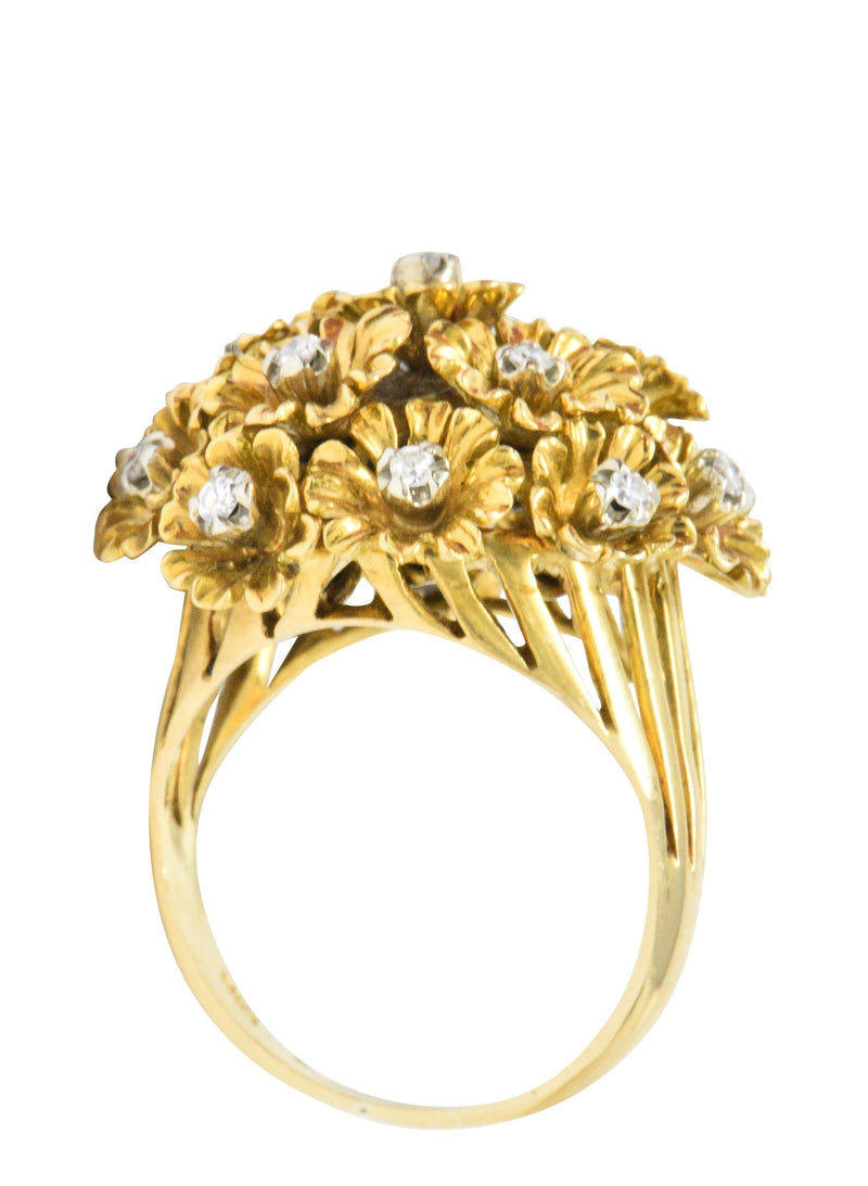 Retro Diamond 18 Karat Gold Flower Bouquet En Tremblant Ring Ring out-of-stock Retro