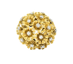 Retro Diamond 18 Karat Gold Flower Bouquet En Tremblant Ring - Wilson's Estate Jewelry