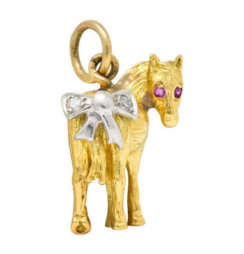 Retro Diamond Ruby Platinum 18 Karat Gold Donkey Charm - Wilson's Estate Jewelry