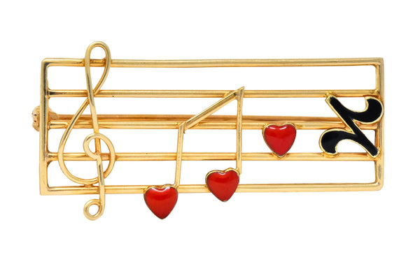 Retro Enamel 14 Karat Gold Music Clef Note Scale Brooch Brooch