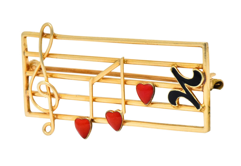 Retro Enamel 14 Karat Gold Music Clef Note Scale Brooch - Wilson's Estate Jewelry