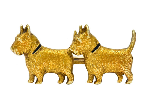 Retro Enamel Scottish Terrier 14 Karat Gold Brooch Brooch