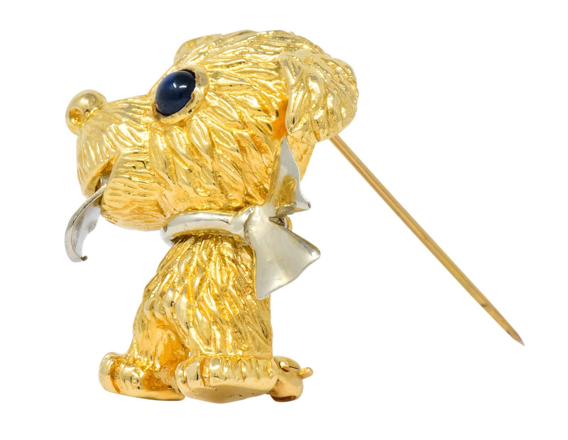 Retro Sapphire 14 Karat Two-Tone Gold Puppy Dog Brooch - Wilson's Estate Jewelry