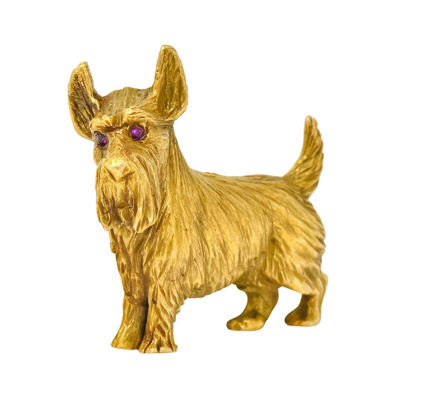 Retro Scottish Terrier 14 Karat Yellow Gold Ruby Brooch Circa 1940 Brooch