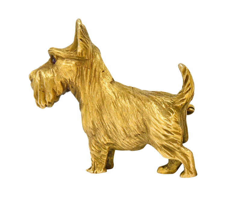 Retro Scottish Terrier 14 Karat Yellow Gold Ruby Brooch Circa 1940 Brooch out-of-stock Retro Ruby