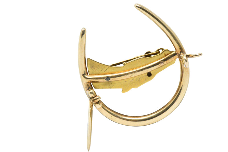 Retro Seed Pearl Diamond & 14K Gold Horseshoe Horse Brooch Brooch