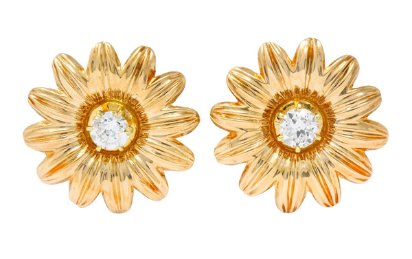 Retro Tiffany & Co. 0.52 CTW Diamond 14 Karat Gold Flower Screw Back Earrings Earrings diamond retro Signed Tiffany & Co.