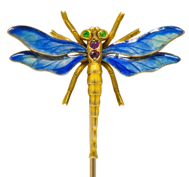 Riker Bros. Art Nouveau Ruby Demantoid Garnet Enamel 14 Karat Gold Dragonfly Stickpin - Wilson's Estate Jewelry