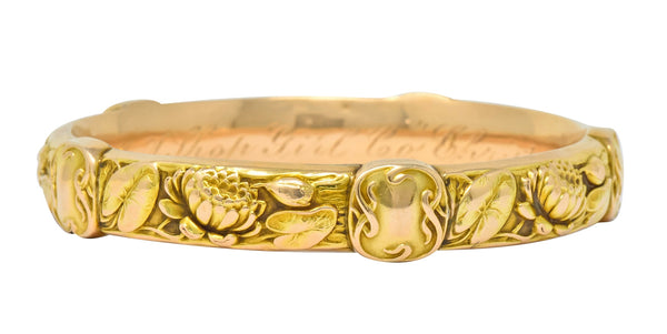 Riker Brothers Art Nouveau 14 Karat Gold Lotus Lily Pad Bangle Bracelet - Wilson's Estate Jewelry