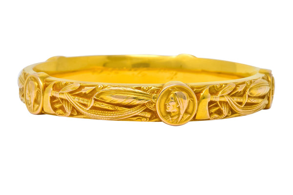 Riker Brothers Art Nouveau 14 Karat Gold Repousse American Indian Bangle Bracelet bracelet Art Nouveau Bangle Repousse riker brothers