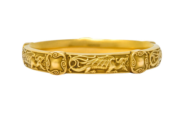 Riker Brothers Art Nouveau 14 Karat Gold Repousse Dragon Bangle Bracelet bracelet