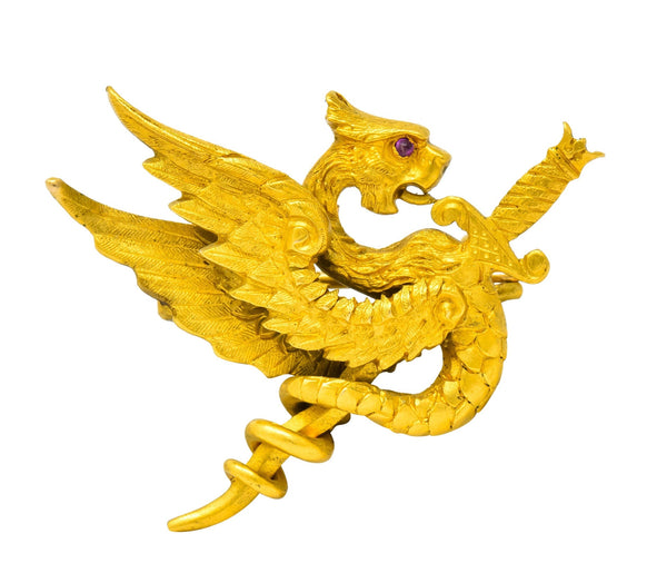 Riker Brothers Art Nouveau 14 Karat Yellow Gold Dragon Brooch Circa 1900 Brooch
