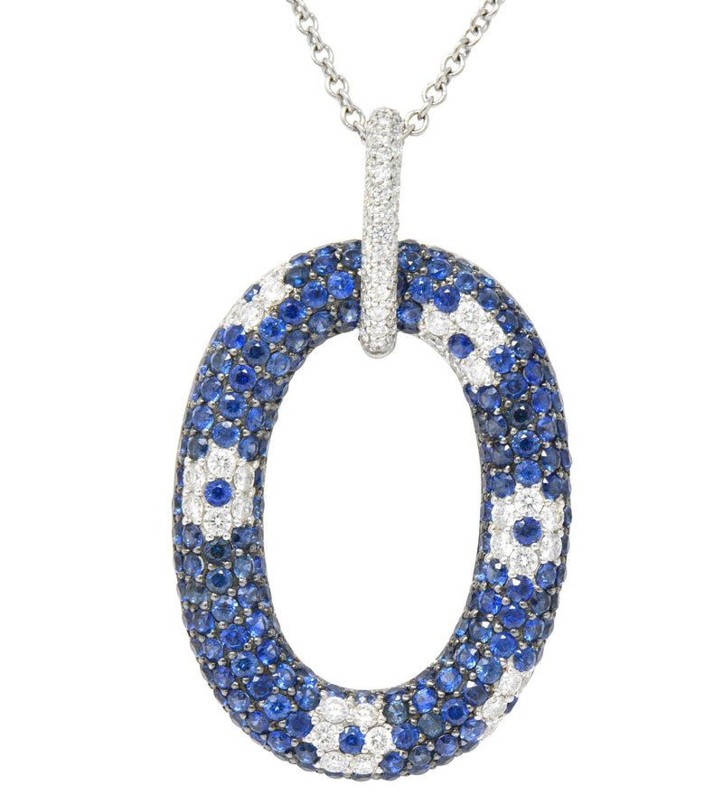 Roberto Coin Contemporary 9.55 CTW Sapphire Diamond 18 Karat White Gold Pendant Necklace Necklace Contemporary out-of-stock signed