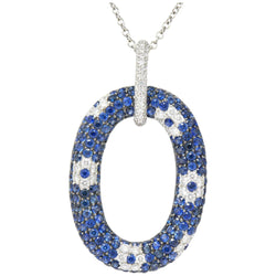 Roberto Coin Contemporary 9.55 CTW Sapphire Diamond 18 Karat White Gold Pendant Necklace Necklace