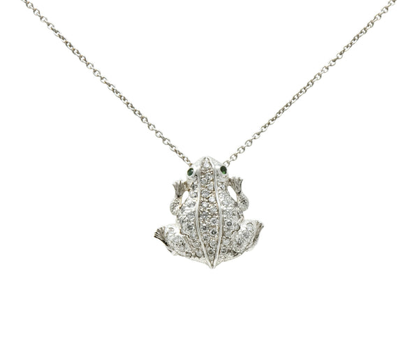 Roberto Coin Diamond 18 Karat White Gold Tiny Treasure Frog Pendant Necklace Necklace