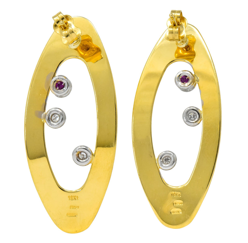 Roberto Coin Diamond Ruby 18 Karat Gold Contemporary Earrings - Wilson's Estate Jewelry