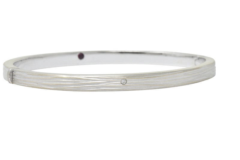 Roberto Coin Diamond Ruby 18 Karat White Gold Bangle Bracelet - Wilson's Estate Jewelry