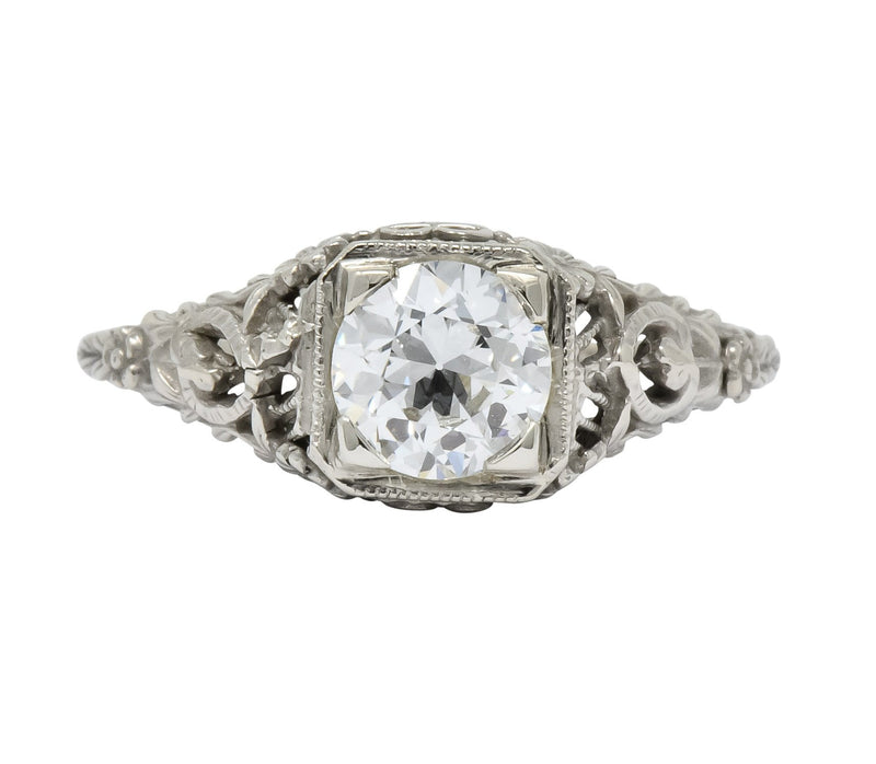 Romantic Edwardian 0.73 CTS Diamond 14 Karat White Gold Engagement Ring GIA - Wilson's Estate Jewelry