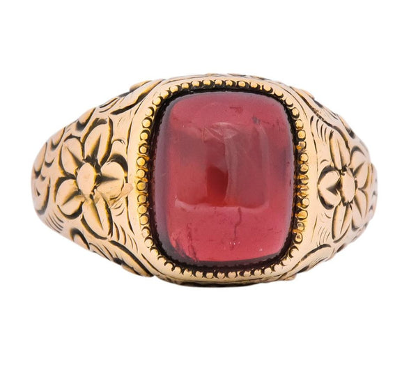 Rudolph Deutsch Co. Victorian Garnet 14 Karat Gold Floral Ring Ring