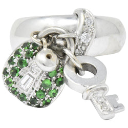 Salavetti 0.75 CTW Diamond Brown Diamond Tsavorite 18 Karat White Gold Lock Ring - Wilson's Estate Jewelry