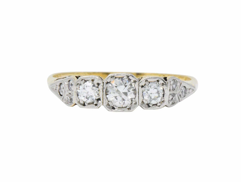Saunders Late Victorian 0.40 CTW Diamond And Platinum-Topped 18 Karat Gold Ring Ring