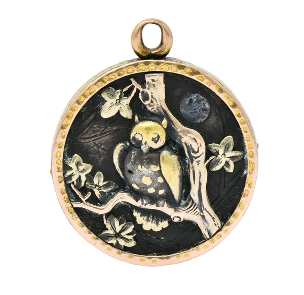 Shakudo 14 Karat Gold Mixed Metal Rooster Owl Pendant Charm Circa 1900 Necklace