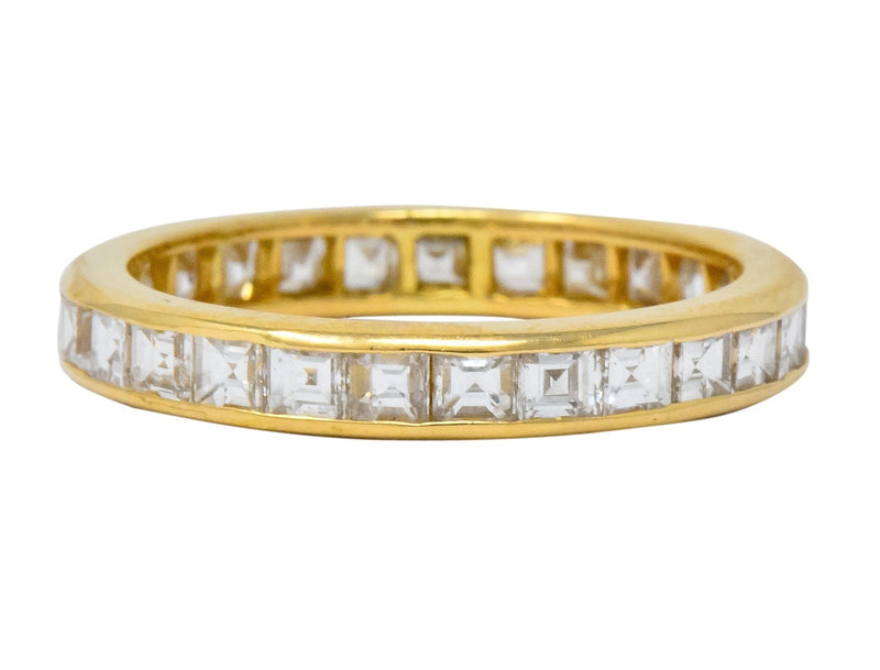 Sleek Oscar Heyman Contemporary 1.35 CTW Square Step Cut Diamond 18 Karat Gold Eternity Band Ring