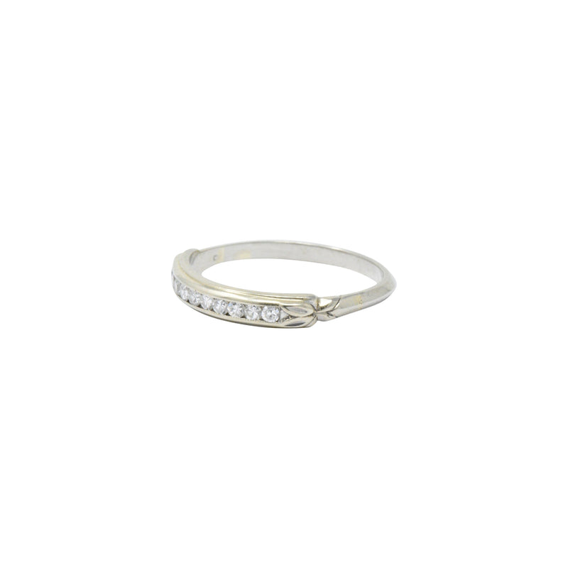 Sparkling Diamond 14 Karat White Gold Wedding Band Stackable Ring - Wilson's Estate Jewelry