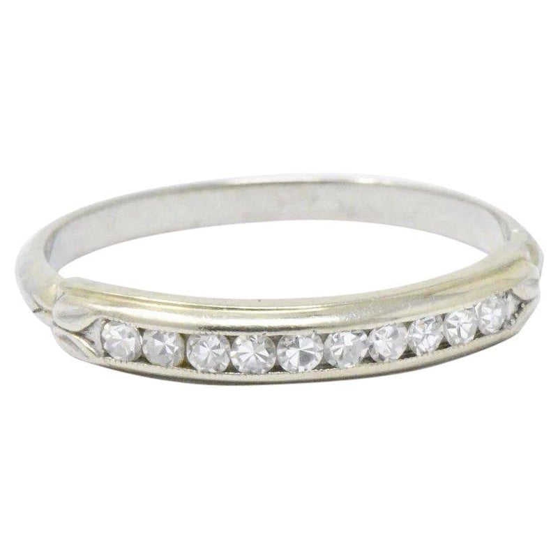 Sparkling Diamond 14 Karat White Gold Wedding Band Stackable Ring Ring out-of-stock